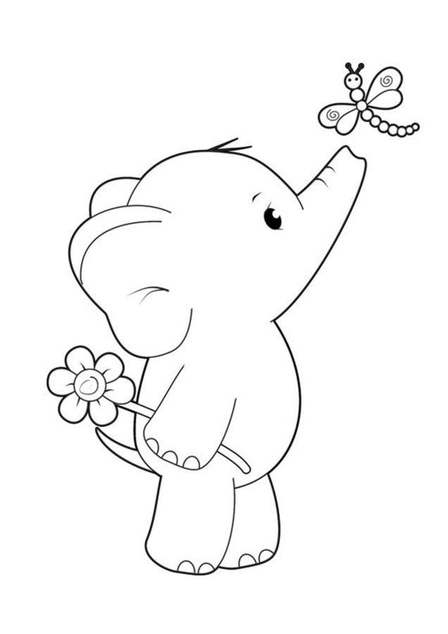 Слонёнок раскраска