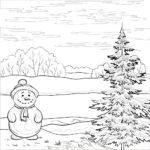 Снеговик и ёлка раскраска