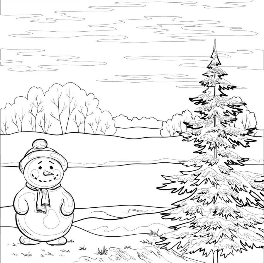 Раскраска снеговик и ёлка