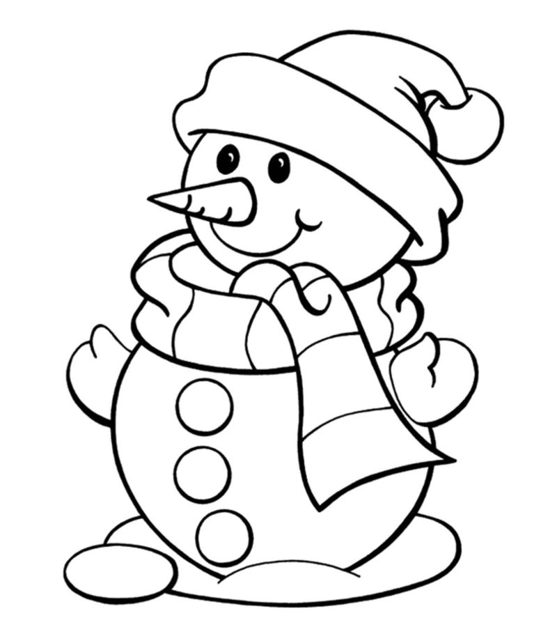 Снеговик из двух шаров раскраска