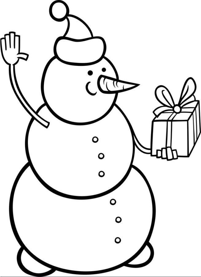 Снеговик с подарком раскраска