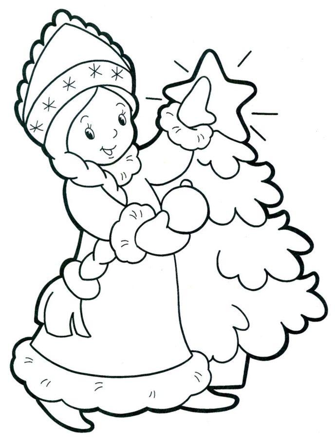 Раскраска Снегурочка и ёлка