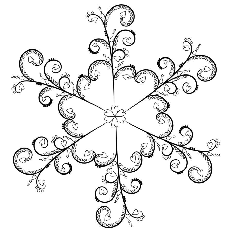 Раскраска снежинка гжель