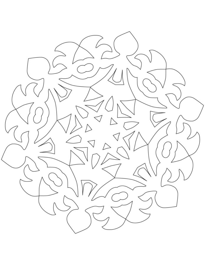 Раскраска хоровод снежинкок шаблон