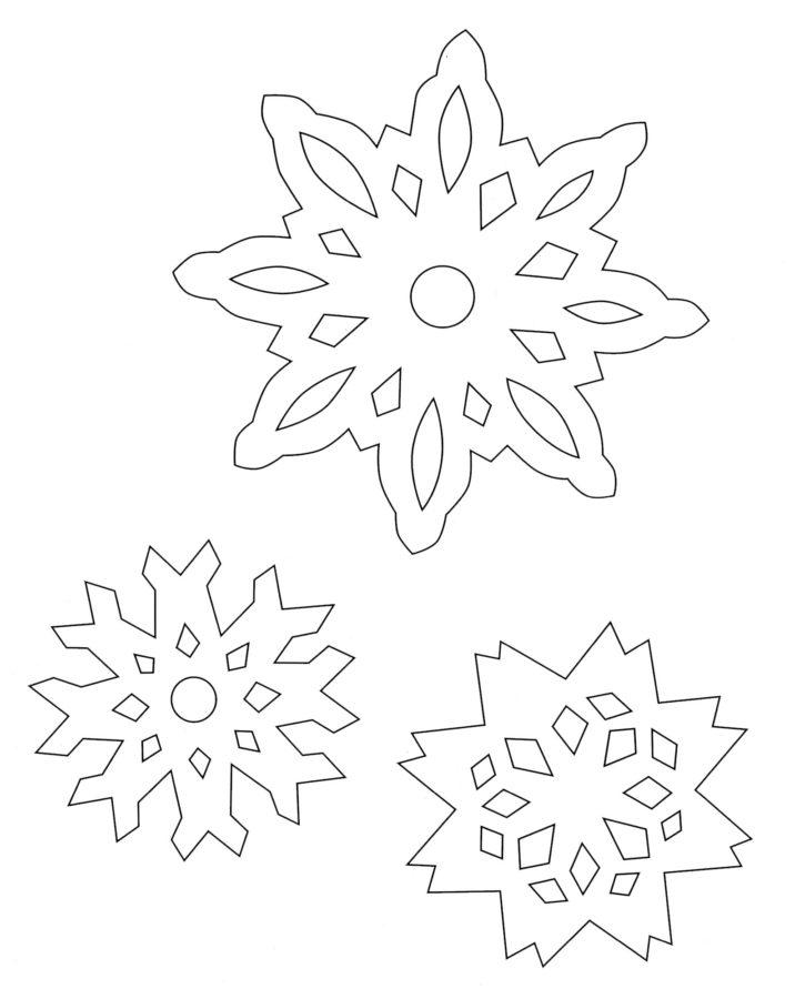 Снежинки из бумаги раскраска