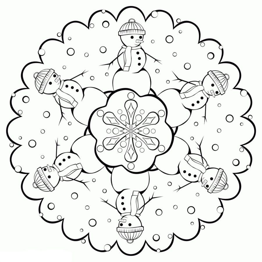 Раскраска снежинки для вырезания