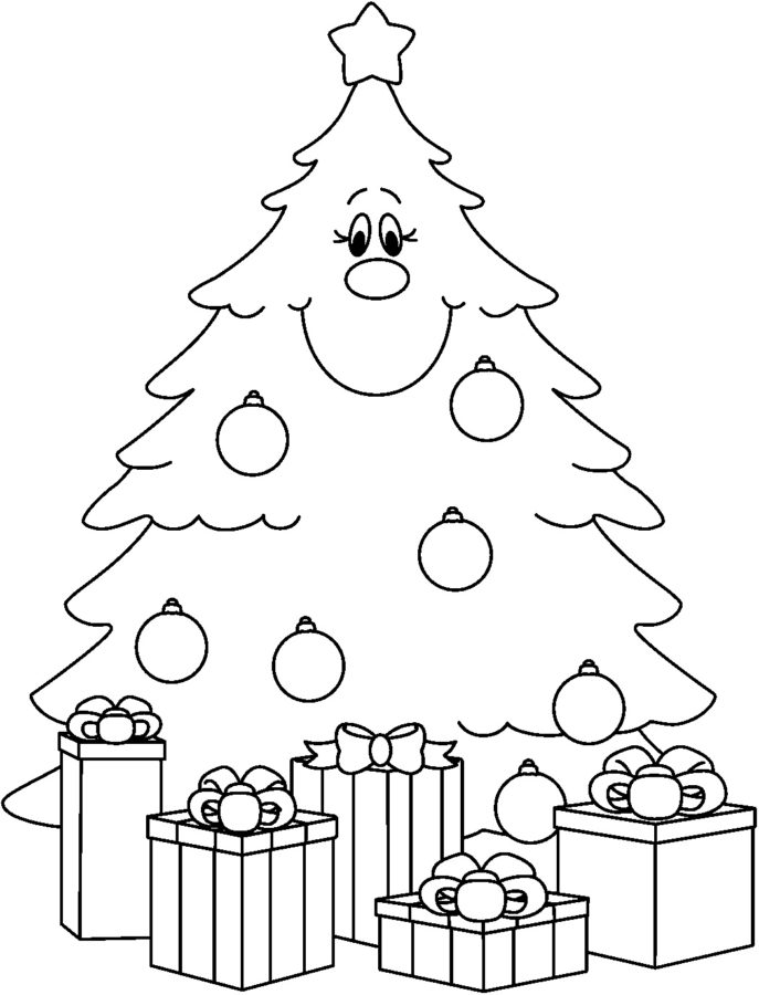 Новогодняя елка картинки для детей раскраски