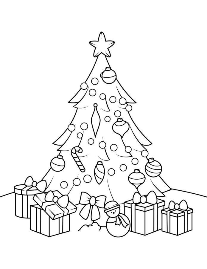 Раскраска ёлка с подарками