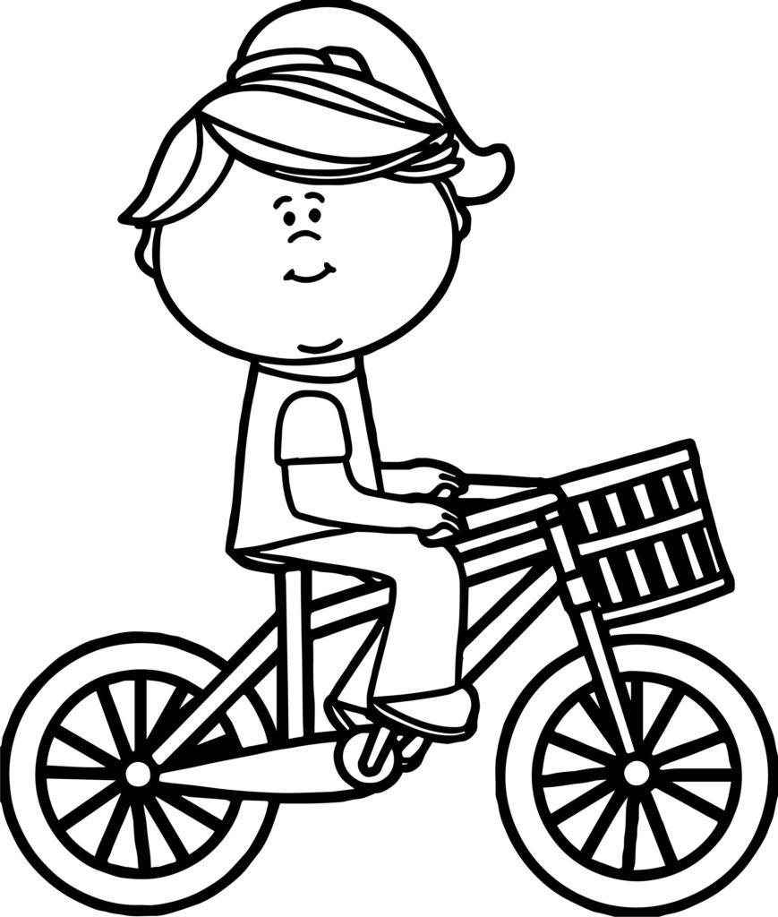 Мальчик на велосипеде раскраска