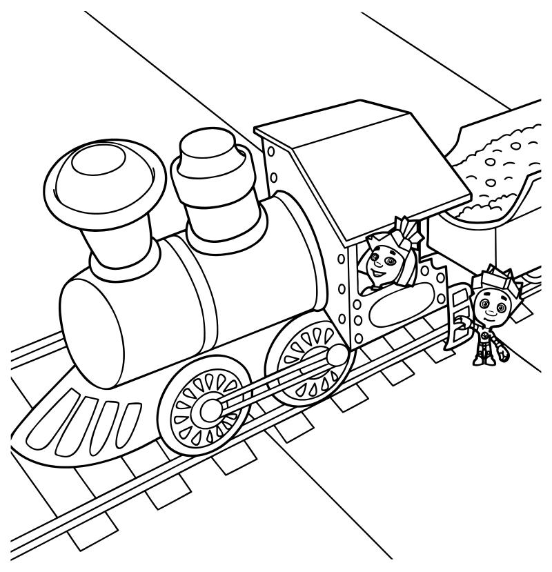 Нолик и Симка на железной дороге
