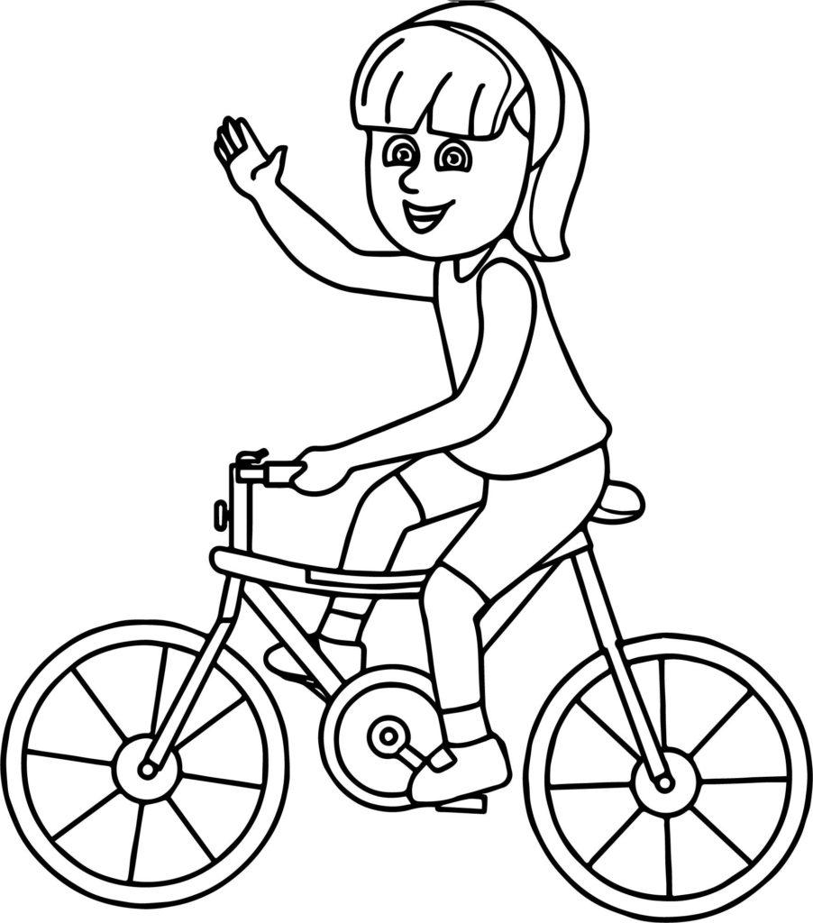 Раскраска девочка на велосипеде