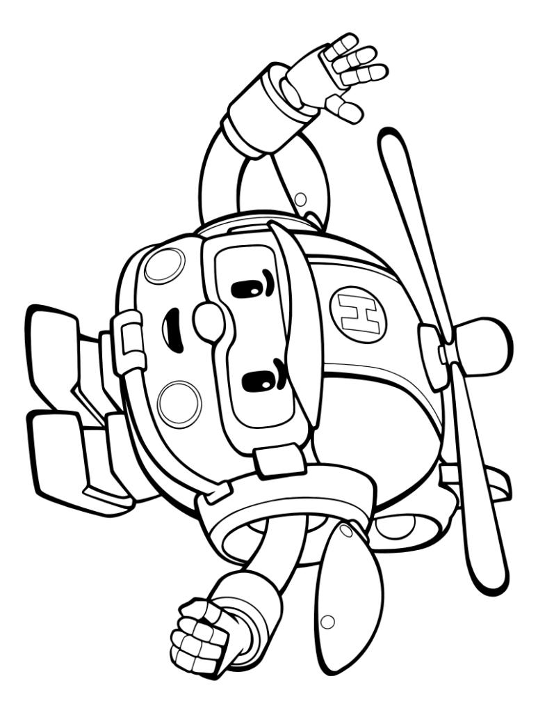 Раскраска робот вертолет