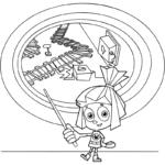 Симка показывает указкой на рельсы