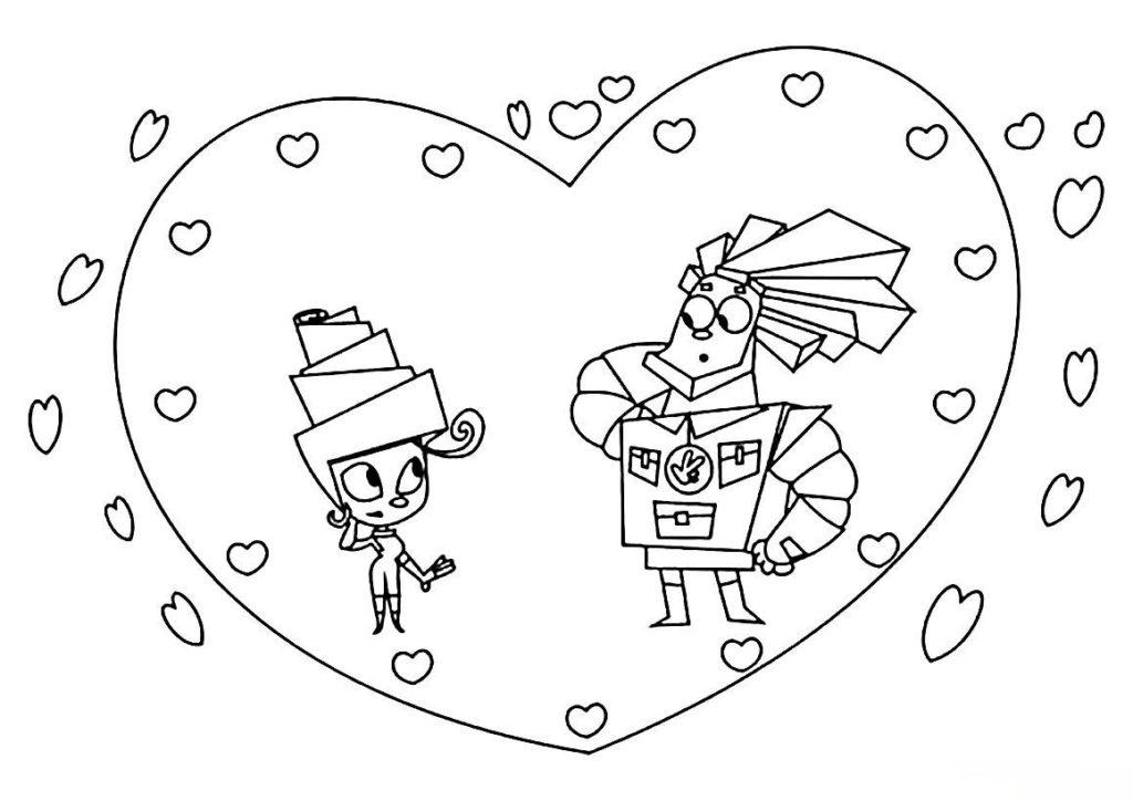 Раскраска Валентинка с Папусом и Масей