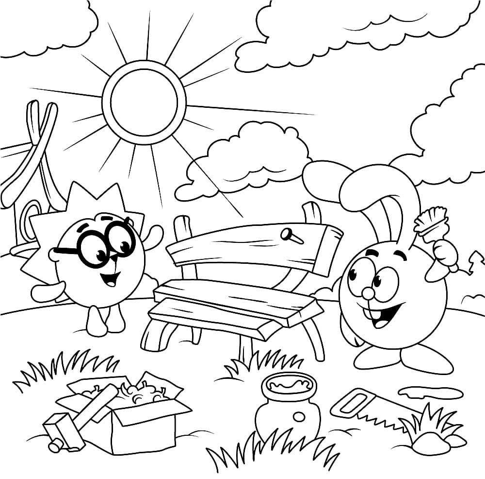 Раскраска Ёжик и Крош делают скамейку