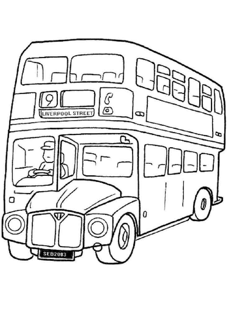 Английский автобус раскраска