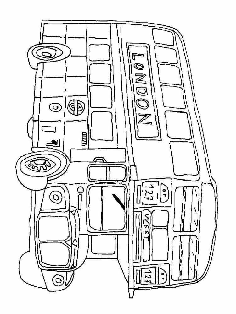 Раскраска лондонский автобус