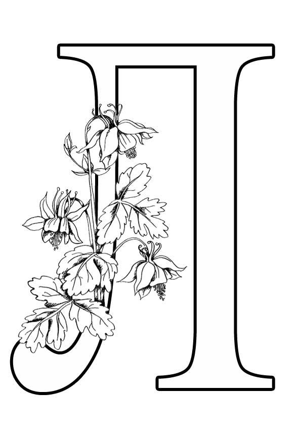 Буква раскраска Л с цветами