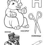 "Буква ""Н"" носорог, ножницы, носки, нож"