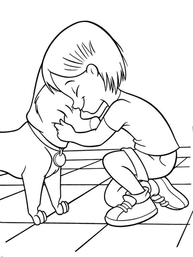 Человек и друг собака раскраска