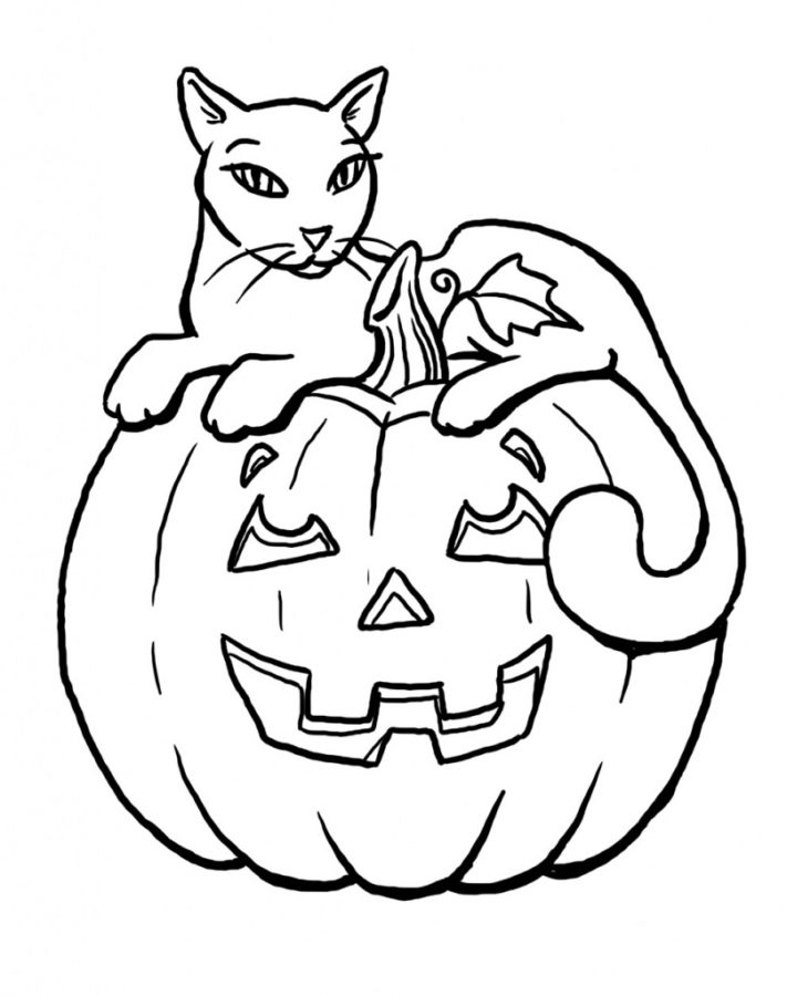 Раскраска чёрная кошка на хэллоуин тыкве