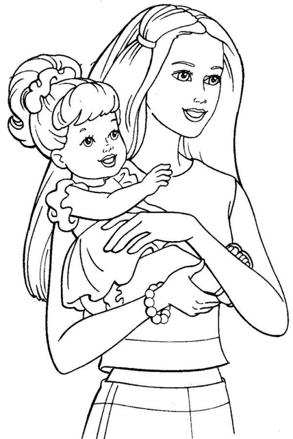 Дочка Барби раскраска