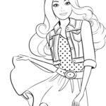 Барби в юбке раскраска