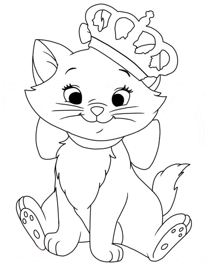 Раскраска кошка Мари