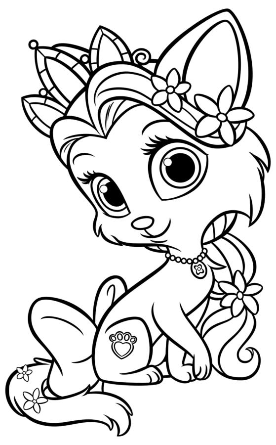 Раскраска кошка принцесса