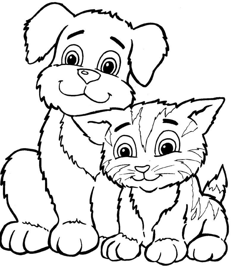 Раскраски котёнок и щенок