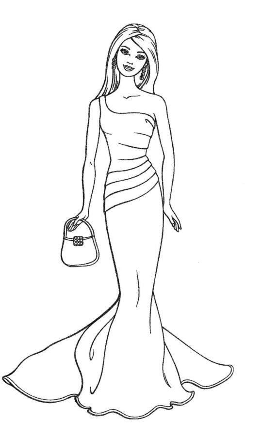 Кукла Барби в длинном платье с сумочкой раскраска