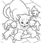 Раскраска мама кошка