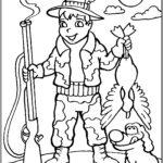 Раскраска охотник с собакой