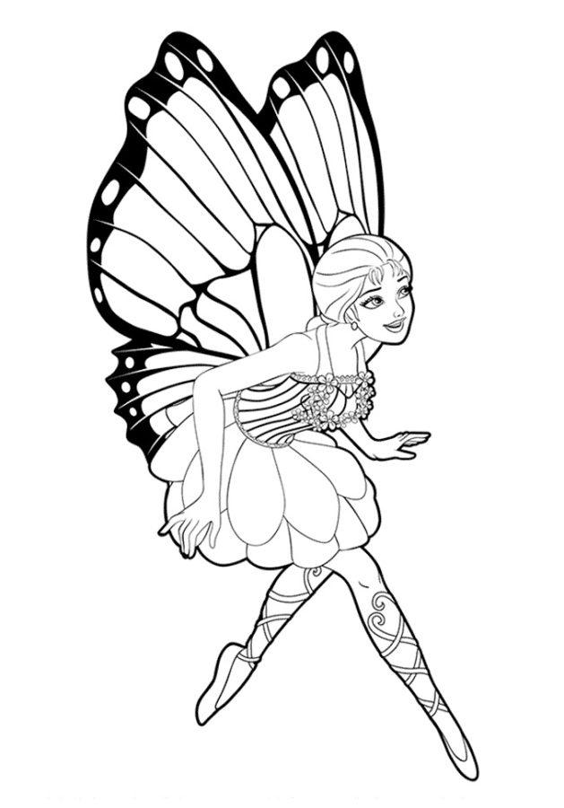 Раскраска Барби бабочка