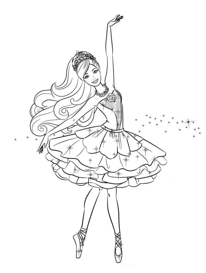 Раскраска Барби балерина в розовых пуантах