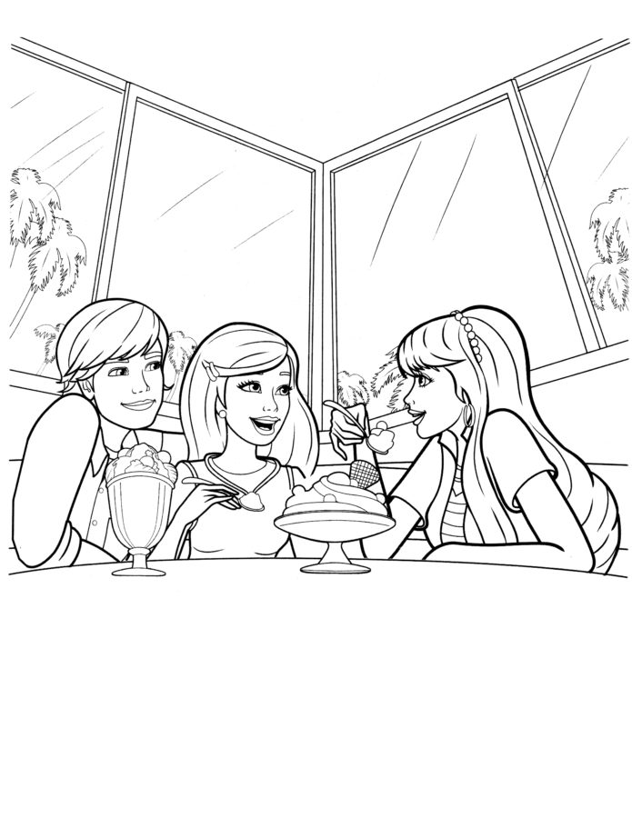 Барби в кафе раскраска