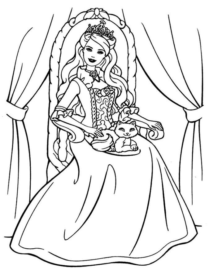 Раскраска Барби королева