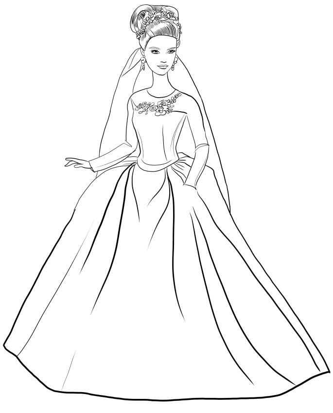 Раскраска Барби невеста в свадебном платье