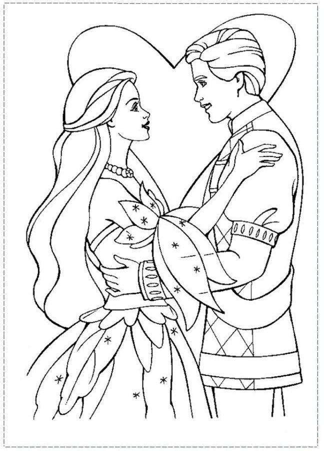 Раскраска свадьба Барби