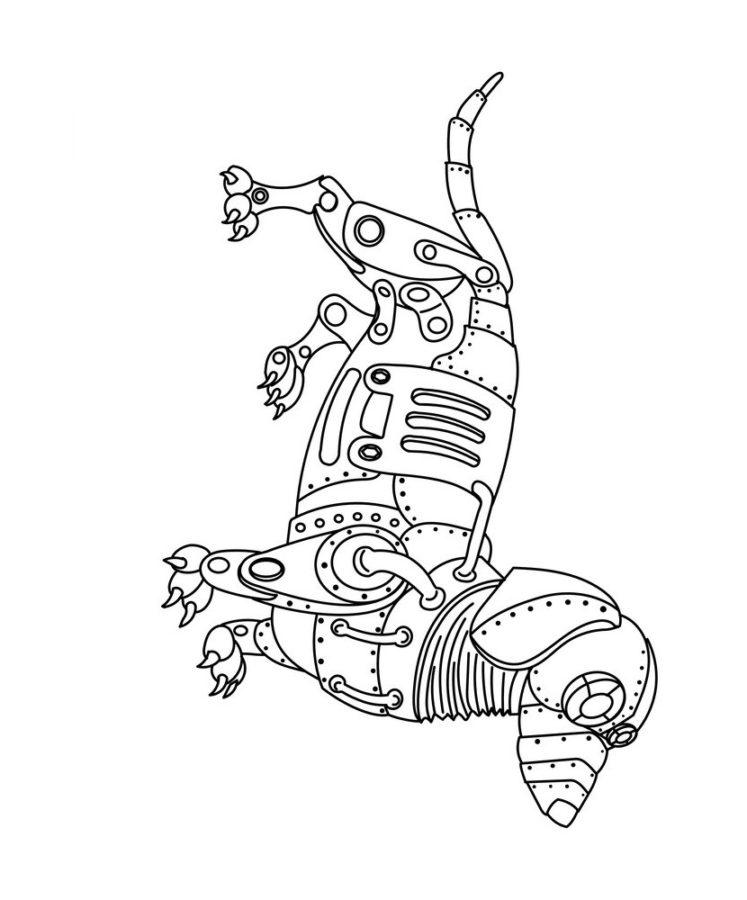 Собака робот раскраска