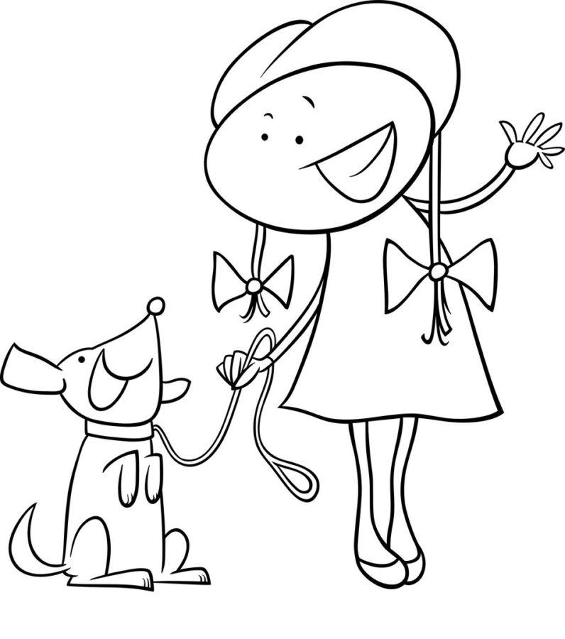 Раскраска собака для девочек