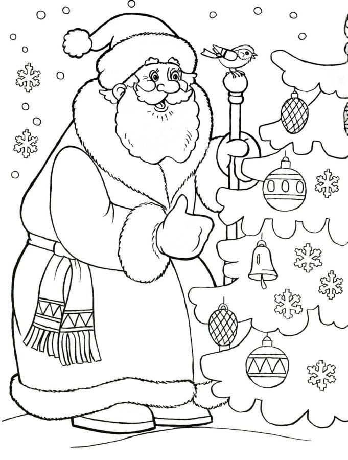 Дед Мороз и ёлка раскраска