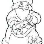 Дед Мороз с подарками раскраска