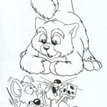 Картинка раскраска кошка с мышкой