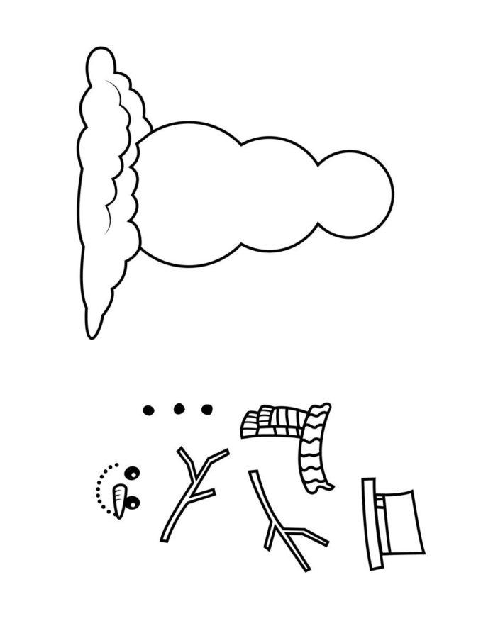 Картинка раскраска рисуем снеговика для детей