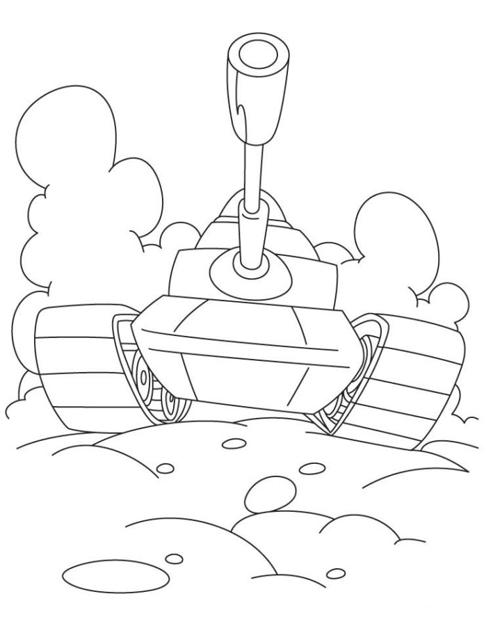 картинка раскраска танк
