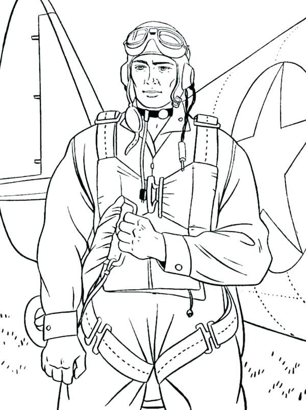 летчик раскраска