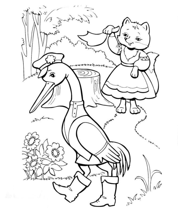 Лиса и журавль раскраска