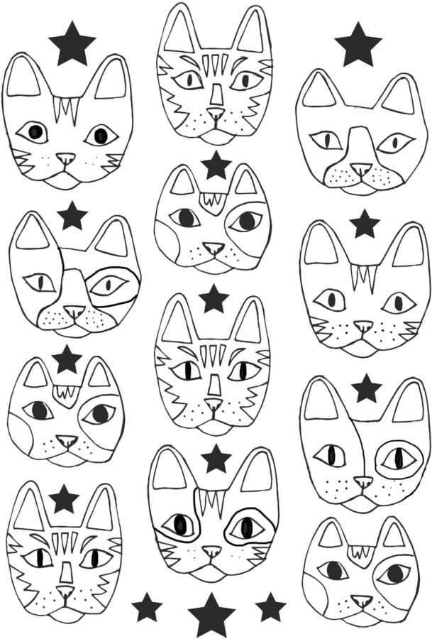 Маска кошки раскраска