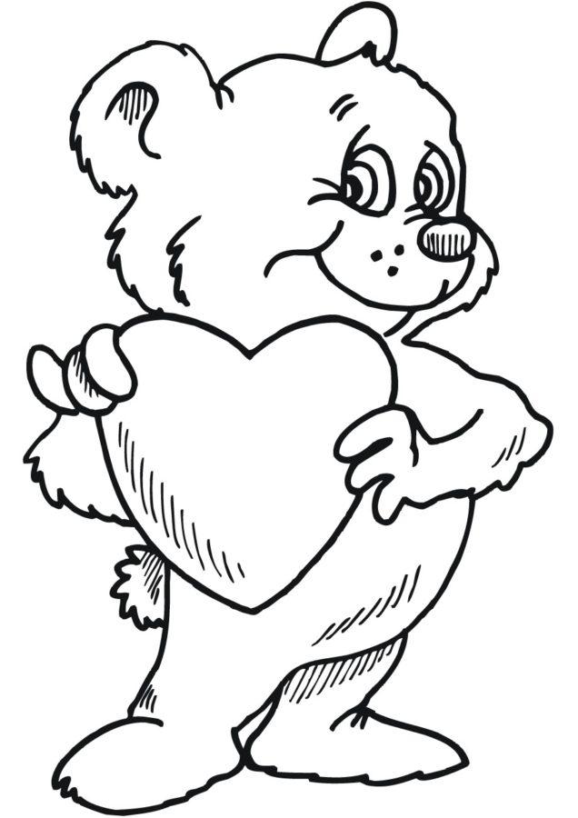 Мишка с сердечком раскраска